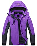 Wantdo Women's Mountain Waterproof Fleece Ski Jacket Windproof Rain Jacket, XX-Large, Purple