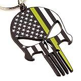 Thin Green Line Flag Punisher Skull Bottle Opener Keychain - Gift for Military Members