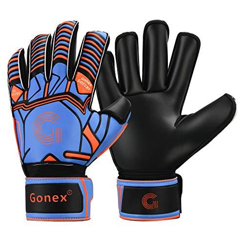 Gonex Torwart Handschuh Fußball Herren Erwachsene Damen Torwarthandschuhe mit Fingersave GK Gloves für Jugendliche Kinder Rollschnitt Finger Fingersave Spinnen 3.5 mm Superior Grip Size 8/9