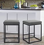 MAISON ARTS Counter Height 24' Bar Stools Set of 2 for Kitchen Counter Backless Industrial Stool Modern Upholstered Barstool Countertop Saddle Chair Island Stool,330 LBS Bear Capacity,(24 Inch, Grey)