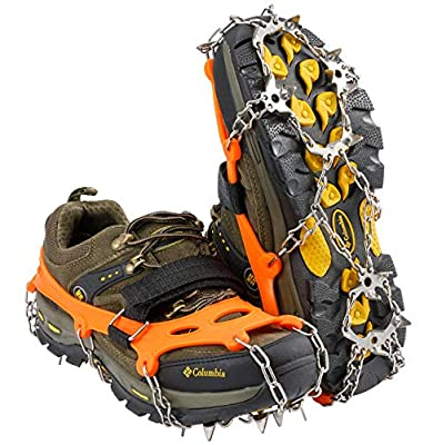 Super Anti-skid and Safety Upgrade: High-quality and thicker 19 stainless steel spikes are diamond-shaped distribution design, with stronger traction and anti-skid function; adjustable straps make the crampons more secure on your feet, not easy to fa...