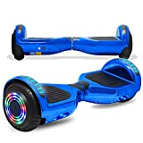 cho Colorful Wheels Series Hoverboard Safety Certified Hover Board Electric Scooter with Built in Speaker Smart Self Balancing Wheels (Chrome Blue)