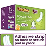 Dimples Booster Pads, Baby Diaper Doubler with Adhesive - Boosts Diaper Absorbency - No More leaks 30 Count (with Adhesive for Secure Fit)