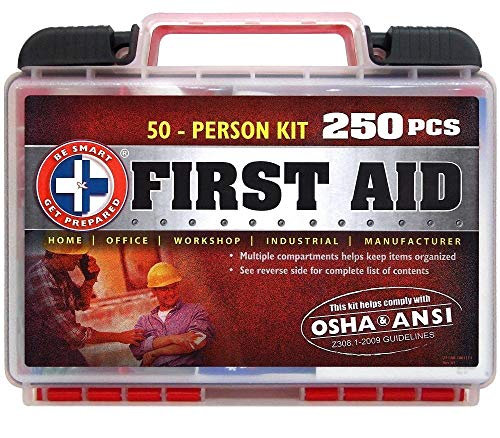 'Be Smart Get Prepared 250Piece First Aid Kit, Exceeds OSHA Ansi Standards for 50 People - Office, Home, Car, School, Emergency, Survival, Camping, Hunting, Sports'