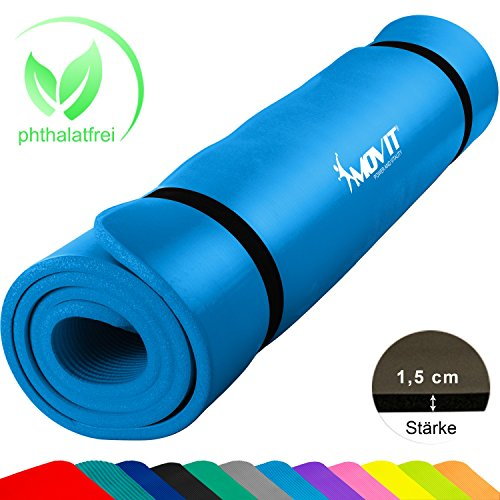 Movit XXL Pilates Gymnastikmatte, Yogamatte, phthalatfrei, SGS geprüft, 190 x 60 x 1,5cm, Himmelblau