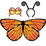 D.Q.Z Kid Butterfly Wings for Girls Dress Up Costume with Headband Mask (Orange)