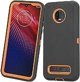 Moto Z3 Case, Moto Z3 Play Case, Heavy Duty with [Built-in Screen Protector] Tough 3 in1 Rugged Shorkproof Armor Cover for Motorola Moto Z3/ Z3 Play (Black/Orange)