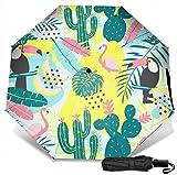 Paraguas de viaje Protección UV a prueba de viento (patrón trópico con tucán)