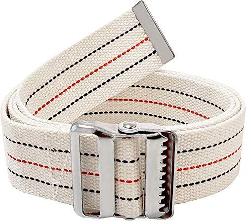 LiftAid Transfer & Walking Gait Belt w/Metal Buckle & Belt Loop Holder for Therapist, Nurse, Home Care - 60'L x 2'W (Beige)