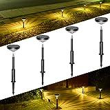 LITOM Pathway Outdoor 3 Modes Wireless LED Landscape, IP65 Waterproof Solar Powered Garden Lights for Ground Lawn Patio Yard Driveway Deck Walkway 4 Pack, Warm White