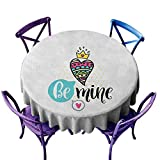 familytaste Romantic,Tabletop Decoration Round Tablecloth D 70' Colorful Patterned Heart Shape with a Crown Creative Typography Phrase Be Mine Wholesale tablecloths