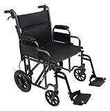 Probasic - Heavy Duty 22 inch Transport Wheelchair, 450 lb capacity