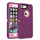 Co-Goldguard Case for iPhone 7 Heavy Duty iPhone 8 Case Armor 3 in 1 Built-in Screen Protector Rugged Cover Dust-Proof Shockproof Drop-Proof Scratch-Resistant Shell for iPhone 7/8 4.7'(Purple Pink)