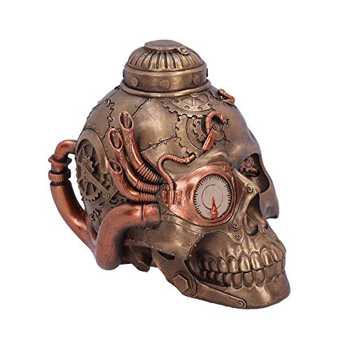 Nemesis Now Steampunk Pipe Up Modified Skull Ornament, Polyresin, Bronze, One Size (Kitchen & Home)