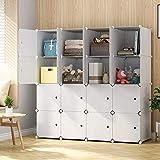 KOUSI Large Cube Storage -14'x18' Depth Cube (16 Cubes) Organizer Shelves Clothes Dresser Closet...