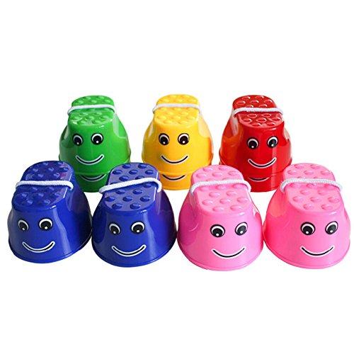 Cosanter Outdoor Topfstelzen Kinder Stelzen Spielzeug Kunststoff Balance Training Springen Stelzen Kinder Walker Spielzeug, mehrfarbig, 1 Paar Farbe zufällige
