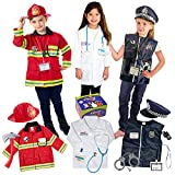 Born Toys Premium 16pcs Costume Dress up set for kids ages 3-7 fireman,police costume, and doctor...
