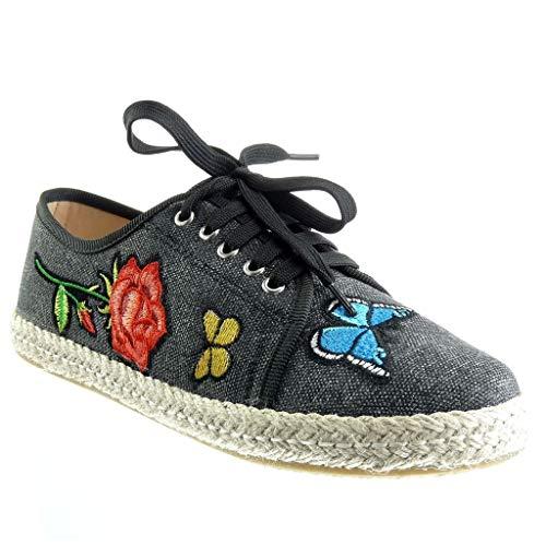 Angkorly - Zapatillas Moda Alpargata Zapatilla - Sneakers Mujer Flores Tacón Plano 1.5 CM - Negro BL211 T 37