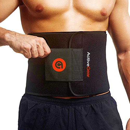 """ActiveGear Waist Trimmer Belt for Stomach and Back Lumbar Support, Large: 9"""" x 46"""" - Red 1"""