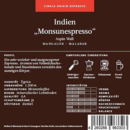 Berliner Kaffeerösterei Indien Monsunkaffee Aspin Wall Arabica Single Origin