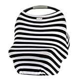 Itzy Ritzy 4-in-1 Nursing Cover, Car Seat Cover, Shopping Cart Cover and Infinity Scarf – Breathable, Multi-Use Mom Boss Breastfeeding Cover, Car Seat Canopy, Cart Cover & Scarf, Black & White Stripe