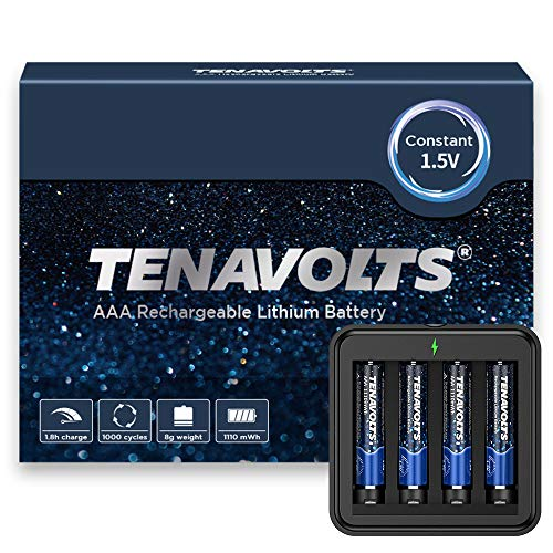 TENAVOLTS 1.5V AAA Lithium Rechargeable Battery, 1.8h Fast Charge, USB Charger, Constant Output at 1.5V, 1110 mWh, 4 Counts with Charger
