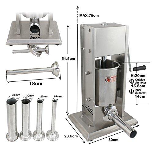 Product Image 5: Super Deal 3L Sausage Filler Sausage Stuffer 7LB Dual Speed Meat Maker, Vertical Stainless Steel Meat Sausage Stuffer w/ 4 Filling Funnels (Sausage Filler 3L)