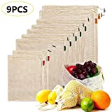 Reusable Mesh Produce Bags for Grocery, Vegetable & Fresh Produce Storage Cotton Bags | Double-Stitched Seams | Machine Washable | Set of 9 (2 Small - 5 Medium - 2 Large)