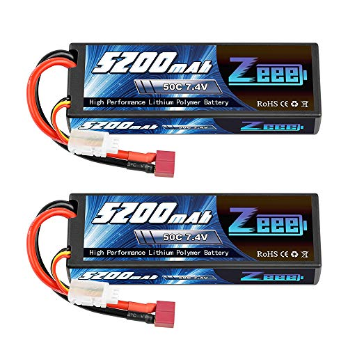 Zeee 2S Lipo Battery 7.4V 50C 5200mAh RC Lipo Batteries Hard Case with Deans Plug for 1/8 1/10 RC Vehicles Car Trucks Airplane Boats(2 Pack)