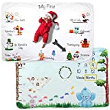 Premium Baby Monthly Milestone Blanket – Personalized Holiday Blanket for Newborn Baby Shower, Includes Bonus Headband, Frames, and Wreath – for Baby Girl and Boy, Premium Fleece, Double-Sided Theme