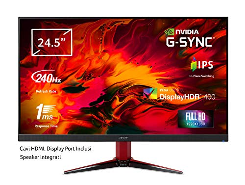 Acer Nitro VG252QXbmiipx Monitor Gaming G-SYNC Compatible, 24,5', Display IPS Full HD, 240 Hz, 1 ms, 16:9, HDMI 2.0, DP 1.2a, Lum 400cd/m2, ZeroFrame, Speaker Integrati, Cavi HDMI, DP Inclusi