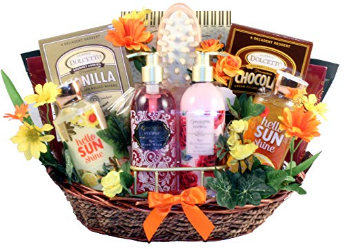 Garden of Delights, Bath and Body Gift Basket for Women with Luxury Products for Her to Pamper Herself - Great Gift for any Occasion