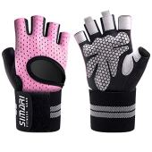 SIMARI Workout Glovesfor Women Men,Training Gloves with Wrist Support for Fitness Exercise Weight Lifting Gym Crossfit,Made of Microfiber and Lycra SMRG902(Pink S)