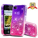 iPhone 4 Case, iPhone 4S Case, Atump Diamond Glitter Flowing Liquid Floating Protective Shockproof Clear TPU Girls Case for Apple iPhone 4/4S Purple/Rose