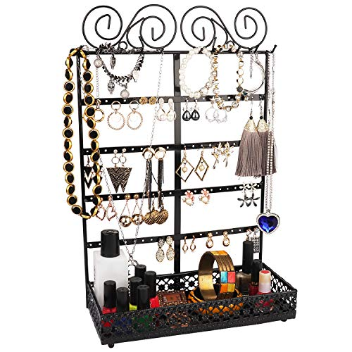 BELLE VOUS Soportes para Joyas - (26x40x12cm) Soporte Expositor de Joyas Metal con contenedor Rectangular, 10 Ganchos y 80 Agujeros - Organizador Colgante de Pared para Collares, Pendientes (Negro)
