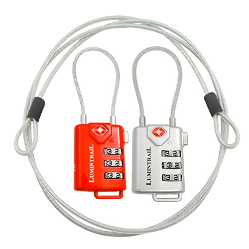 TSA Approved Cable Luggage Locks plus Bonus 4 Foot Steel Cables Lumintrail Combination Travel Security Lock - 2 Pack (Silver + Red)