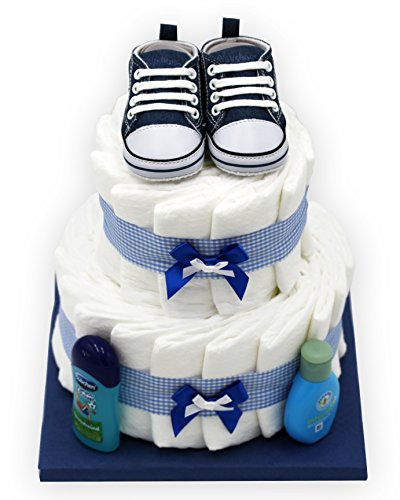 """Windeltorte\""""Blue Shoes\"""" für Jungen - mit süßen Babyschuhen - das perfekte Geschenk zur Geburt oder Taufe + gratis Grußkärtchen"""