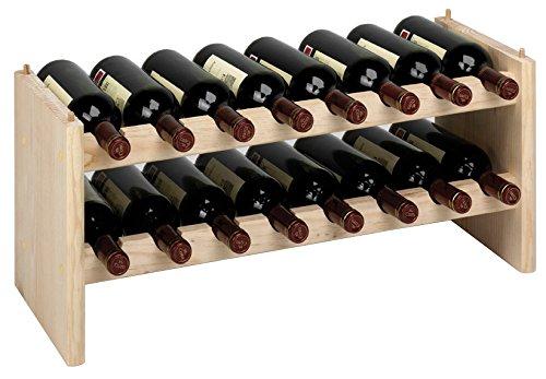 Piushopping Cantinetta componibile portabottiglie Vino in Legno di Pino Naturale 16 postazioni per modulo Dimensione cm...