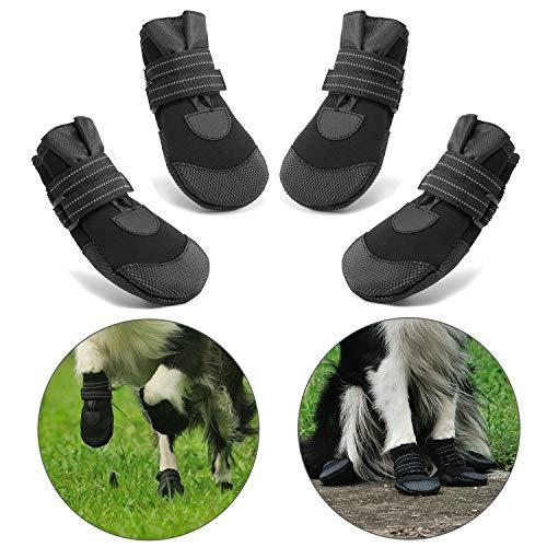 Hcpet Stivali Protettivi per Cani, 4 Pezzi Scarpine Protettive Antipioggia Antiscivolo per Cani per Piccolo a Grande Cani Nero (4#)