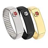 Lot de 3 bracelets d'identification médicale en acier inoxydable pour homme Personnalisable 19 cm