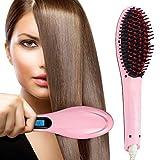 ASPERIA Hair Electric Comb Brush 3 in 1 Ceramic Fast Hair Straightener For Women's Hair Straightening Brush with LCD Screen, Temperature Control Display, Hair Straightening Machine (Pink)