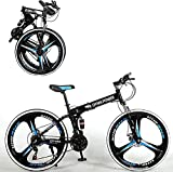 26 inch 21 Speed Folding Mountain Bike High Carbon Steel, Full Suspension MTB Bicycle for Adult, Double Disc Brake Outroad Mountain Bicycle for Men Women,Fast Delivery [ USA in Stock ] (a)