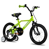 cycmoto Hawk 16' Kids Bike with Hand Brake & Training Wheels for 4 5 6 Years Boys, Toddler Bicycle Green