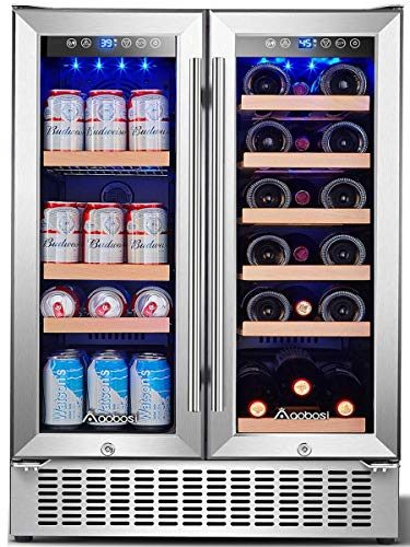 Aobosi 24 Inch Beverage and Wine Cooler Dual Zone, 2-IN-1 Wine Beverage Refrigerator with Independent Temperature Control, LED Light, Quiet Operation, Energy Saving, Hold 18 Bottles and 57 Cans