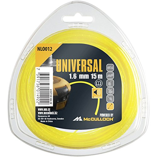 Universal GM577616312 Silenzioso per Decespugliatore Ricambio per Tagliabordi,  Filo 1.6 mm, Tecnica Brevettata per Funzionamento, cod. Art. 00057-76.163.12, Standard, 1.6mmx15m, NLO012