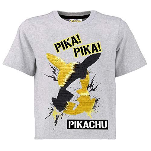 Pokèmon Camiseta Lentejuelas Reversibles para Niños | Top De Algodón Gris De Pikachu En Lentejuelas Negras Y Doradas | Idea Regalo Niños Y Adolescentes (13/14 años)