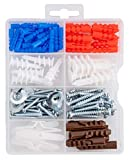 Qualihome Drywall and Hollow-Wall Anchor Assortment Kit, Anchors, Screws, Wall Anchor Hooks, and Hollow-Door Toggle Anchor