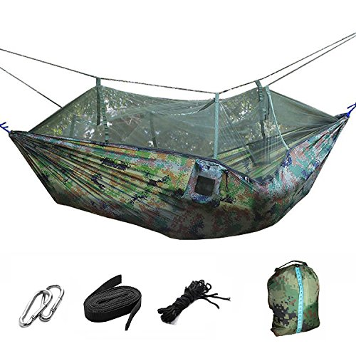 Hamaca de paracaídas plegable y portátil con mosquitero para colgar en la cama, para camping,...