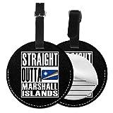Straight Outta Marshall Islands - Etiquetas redondas para equipaje de piel, etiquetas de identificación de viaje, Negro (Negro) - Lp7bgrc-47214278