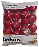 Bolsius 103632053744 Bougies Flottantes, Cire de paraffine, vin Rouge, Lot de 20